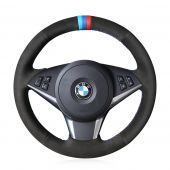 For BMW E60 530d 545i 550i E61 Touring 2005-2009 E63 E64 630i 645Ci 650i 2004-2009, Custom Suede Stitched Steering Wheel Cover