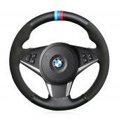 For BMW E60 530d 545i 550i E61 Touring 2005-2009 E63 E64 630i 645Ci 650i 2004-2009, Suede With Marker Sewing Steering Wheel Cover Skin