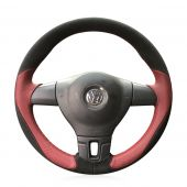 For Volkswagen VW Tiguan Jetta Mk6 Lavida Passat B7, Custom Leather Suede Hand Stitch Steering Wheel Cover