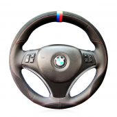 For BMW E90 320i 325i 330i 335i E87 120i 130i 120d,  Custom Leather Suede Hand Sew Steering Wheel Wrap Cover
