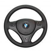 For BMW E90 325i 330i 335i E87 120i 130i 120d, Black Leather Sides Perforated Hand Sew Steering Wheel Wrap Cover