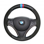 For BMW E90 325i 330i 335i E87 120i 130i 120d, Design Leather Suede With Maker Stitched Wrap Steering Wheel Cover