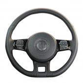 For Volkswagen VW Beetle 2012 2013 2014 2015 2016 Up 2013 2014 2015 2016, Black Leather Suede Sewing Wrap Steering Wheel Cover