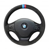 For BMW F30 316i 320i 328i, Custom Leather Suede With Marker Hand Sew Steering Wheel Cover