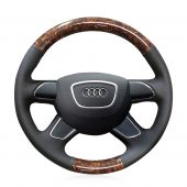 For Audi Q7 2012-2015 Q3 Q5 2013-2016 A4 (B8) 2014 2015 A6 (C7) 2014-2016, Custom Wood Grain Leather Sew Steering Wheel Cover