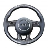 For Audi Q3 Q5 2013-2015, Carbon Fiber Leather Hand Stitch Wrap Steering Wheel Cover