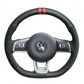 For Volkswagen Golf 7 GTI Golf R MK7 VW Polo GTI Scirocco 2015 2016, Custom Leather Suede Hand Stitched Wrapped Steering Wheel Cover