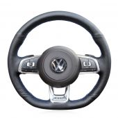 For Volkswagen Golf 7 GTI Golf R MK7 VW Polo GTI Scirocco 2015 2016, Leather Sides Perforated Sewing Steering Wheel Cover