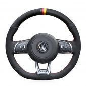 For Volkswagen Golf 7 GTI Golf R MK7 VW Polo GTI Scirocco 2015 2016, Black Suede With Marker Stitched Wrap Steering Wheel Cover