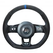 For Volkswagen Golf 7 GTI Golf R MK7 VW Polo GTI Scirocco 2015 2016, Black Suede With Blue Marker Sewing Steering Wheel Cover