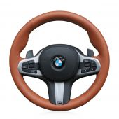 For BMW G30 525i 530i 530d M550i M550d 2017 2018 G32 630i 640i M 2017 2018, Brown Artificial Leather Hand Sewing Steering Wheel Cover Skin