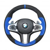 For BMW G30 525i 530i 530d M550i M550d 2017 2018 G32 630i 640i M 2017 2018, Black Blue Suede Sewing Steering Wheel Cover