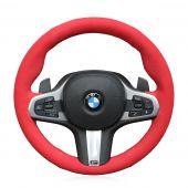 For BMW G30 525i 530i 530d M550i M550d 2017 2018 G32 630i 640i M 2017 2018, Red Suede Hand Stitch Steering Wheel Wrap Cover
