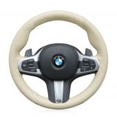 For BMW G30 525i 530i 530d M550i M550d 2017 2018 G32 630i 640i M 2017 2018, Beige Artificial Leather Hand Sew Wrap Steering Wheel Cover