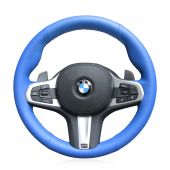 For BMW G30 525i 530i 530d M550i M550d 2017 2018 G32 630i 640i M 2017 2018, Blue Artificial PU Leather Sew Steering Wheel Wrap Cover