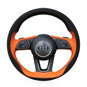 For Audi A5 2017, Design Orange Leather Black Suede Hand Stitched Steering Wheel Wrap Cover