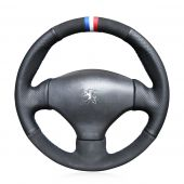 For Peugeot 206 1998-2005 206 SW 2003 2004 2005 206 CC 2004 2005, Customize Leather Suede Hand Sew Steering Wheel Cover
