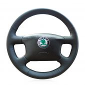 For Skoda Octavia 1999 2000 2001 2002 2003 2004 2005, Custom Leather Hand Sew Steering Wheel Wrap Cover