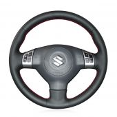 For Suzuki Swift 2011 2012 2013, Black Leather Sides Perforated Hand Sewn Wrapped Steering Wheel Cover
