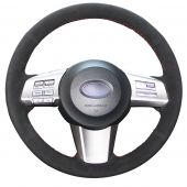 For Subaru Outback 2012, Customize Your Black Leather Suede Hand Sewn Steering Wheel Cover