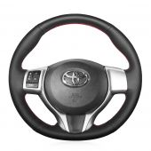 For Toyota Yaris 2012 2013  2014 2015 2016 2017 2018, Black Leather Stitch Wrapped Steering Wheel Cover