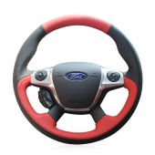For Ford Focus 3 2012-2014 KUGA Escape 2013-2016 C-MAX 2011-2014, Custom Genuine Leather Suede Sew Steering Wheel Cover Skin