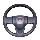 For Honda Fit 2014 Vezel 2015 2016 2017, Custom Black Leather Suede Hand Sewing Steering Wheel Wrap Cover