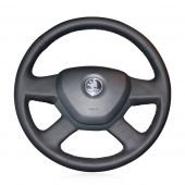 For Skoda Octavia 2014 Skoda Fabia 2013, Customize Black Leather Hand Stitched Steering Wheel Wrap Cover