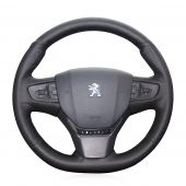 For Peugeot 408 2014 2015, Design Black Leather Suede Stitched Protector Steering Wheel Cover