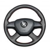 For Skoda Octavia 2015 2016 Fabia 2014 Rapid 2013 2014 2015 Superb 2013 2014 2015 2016 Yeti 2014 2015, Black Leather Wrap Steering Wheel Cover