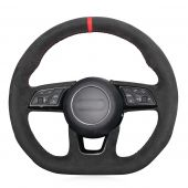 For Audi A3 S3 2016-2017 A4 2016-2017 A5 S5 2017, Customize Black Suede Red Marker Sewing Wrapped Steering Wheel Cover
