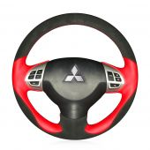 For Mitsubishi Lancer X 10 2007-2015 Outlander ASX Colt Pajero Sport Citroen C-Crosser, Custom Leather Suede Hand Sew Steering Wheel Cover