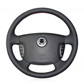 For Ssangyong Actyon Kyron, Custom Black Leather Sides Perforated Hand Sew Steering Wheel Cover