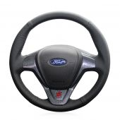 For Ford Fiesta 2008-2013 Ecosport 2013-2016, Design Leather Hand Sew Protector Steering Wheel Cover