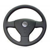 For Volkswagen Old VW Golf Polo Sagitar Lavida 2010 Polo, Customize Black Leather Stitch Steering Wheel Cover
