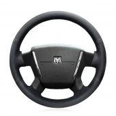 MEWANT Custom Stitched Black Genuine Real Leather Car Steering Wheel Wrap Cover for Dodge Caliber 2008 2009 2010 2011 Dodge Avenger 2007