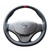 For Toyota Vios 2014 2015 2016, Design Genuine Leather Suede Hand Sewing Protector Steering Wheel Cover