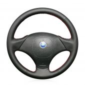 For FIAT Albea 2002 Palio Weekend 2002, Custom Black Leather Sides Perforated Steering Wheel Wrap Cover