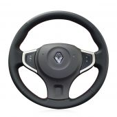 For Renault Koleos 2009 -2014 Samsung QM5, Design Leather Sewing Wrapped Steering Wheel Cover