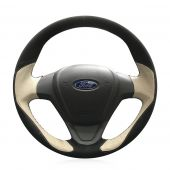 For Ford Fiesta 2008-2013 Ecosport 2013 2014 2015 2016, Custom Hand Stitch Wrap Steering Wheel Cover