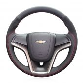 For Chevrolet Malibu 2011-2014 Volt 2011-2015, Custom Genuine Leather Suede Hand Sew Wrapped Steering Wheel Cover