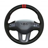 For Kia Sportage 3 2011-2014 Kia Ceed Cee'd 2010-2012, Custom Leather Suede Marker Stitch Steering Wheel Wrap Cover