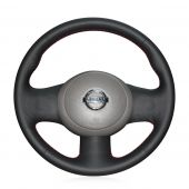 For Nissan March Sunny Versa 2013 Almera, Design Leather Hand stitch Wrapped Steering Wheel Cover