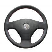 For Volkswagen VW Jetta 5 2006 2007 2008 2009 2010 Old Jetta, Custom Black Leather Hand Sew Cover Steering Wheel Protector