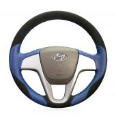 MEWANT Hand Stitch Black Suede Blue Leather Car Steering Wheel Wrap Cover for Hyundai Solaris 2010-2016 / i20 2008-2014 / Accent 2012-2017 / Verna 2010-2016