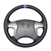 For Toyota Highlander 2008-2014 Camry 2007-2011, Customize Leather Stitched  Steering Wheel Cover