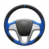 For Hyundai Solaris (RU) 2010-2016 Verna 2010-2016 i20 2009-2015 Accent 2012-2017, Custom Black Blue Suede With Marker Steering Wheel Cover