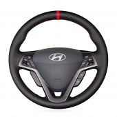 For Hyundai Veloster 2011 2012 2013 2014 2015 2016 2017, Custom Sew Steering Wheel Cover