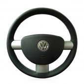 For Volkswagen VW Beetle 2003-2010, Customize Black Leather Sides Perforated  Hand Stitch Steering Wheel Wrap Cover