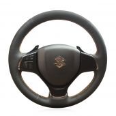 For Suzuki Alivio 2015 2016, Black Leather Sides Perforated Hand Sewn Steering Wheel Cover